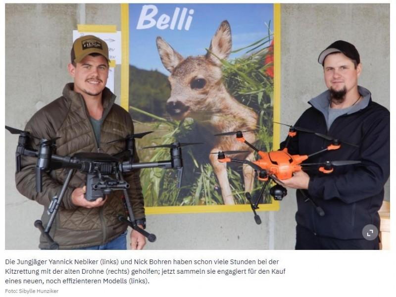 Rehkitzrettung in GrindelwaldNoch fehlen 7500 Franken für eine neue DrohneAm «Buuresunntig» informierte der Jagd- und Wildschutzverein über den Schutz von Rehkitzen und sammelte Spenden für eine neue Drohne.Zwischen Mai und Juli bringen Rehgeissen ihre Jungen oft im hohen Gras zur Welt – genau dann, wenn die Heuernte ansteht. Weil sich die kleinen Rehkitze bei Gefahr tief ins Gras ducken und nicht flüchten, werden sie immer wieder von Mähern erfasst und so schwer verletzt, dass sie keine Überlebenschance haben.«Unfälle mit Kitzen sind auch für die Landwirte schrecklich», sagt Xandi Sommer, Hegeobmann des Jagd- und Wildschutzvereins Grindelwald. «So werden wir immer öfter von Bauern angefragt, ob wir ihre Wiesen absuchen, bevor sie mähen.»https://www.berneroberlaender.ch/noch-fehlen-7500-franken-fuer-eine-neue-drohne-360876609843