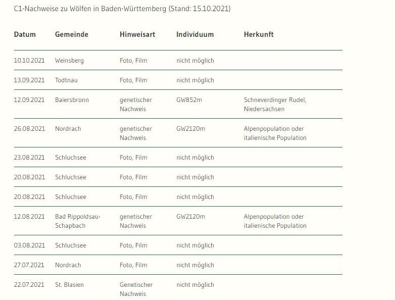 """15.10.2021Eindeutige Nachweise (C1) zu Wölfen in Baden-WürttembergIn der Tabelle sind die C1-Nachweise in Baden-Württemberg aufgeführt, da nur diese die Anwesenheit eines Wolfes zweifelsfrei bestätigen. Durch genetische Untersuchungen von Losungen oder Rissabstrichen ist es zum Teil möglich verschiedene Wölfe zu unterscheiden. Sofern dies bei der Analyse gelungen ist, steht die Bezeichnung des jeweiligen Individuums (zum Beispiel GW852m) in der Tabelle. Bei Nachweisen über Foto- oder Filmaufnahmen ist eine Individualisierung nicht möglich.Hinweise auf Wölfe werden nach den sogenannten SCALP-Kriterien bewertet. Die SCALP-Kriterien wurden als Grundlage für ein standardisiertes Monitoring von einer alpenweiten Expertengruppe ursprünglich für das länderübergreifende Luchsmonitoring entwickelt. Die Abkürzung steht für """"Status and Conservation of the Alpine Lynx Population"""".Die Methodik wurde für Wolf und Bär weiterentwickelt und wird europaweit für das Monitoring der großen Beutegreifer verwendet. Sie teilt Meldungen nach deren Überprüfbarkeit ein. Der Buchstabe C steht für Kategorie (Category), die Ziffern 1 – 3 definieren die Überprüfbarkeit der Hinweise.C1 = eindeutige Nachweise, harte Fakten: Lebendfang, Totfund, genetischer Nachweis, Foto/Video, TelemetrieortungC2 = bestätigte Hinweise: durch eine erfahrene Person bestätigte Ereignisse wie Risse oder Spuren mit starkem Wolfsverdacht.C3 = nicht bestätigte Hinweise: Ereignisse, die nicht überprüft wurden bzw. in der Regel nicht überprüfbar sind (zum Beispiel Beobachtungen, Rufe)https://um.baden-wuerttemberg.de/de/umwelt-natur/naturschutz/biologische-vielfalt/artenschutz/wolf/nachweise/"""