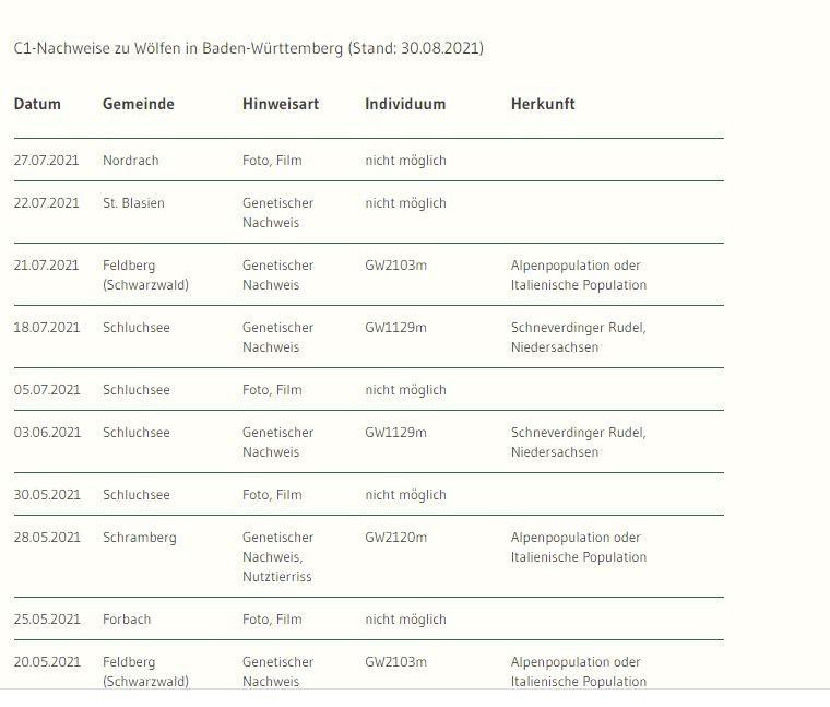 """Eindeutige Nachweise (C1) zu Wölfen in Baden-WürttembergIn der Tabelle sind die C1-Nachweise in Baden-Württemberg aufgeführt, da nur diese die Anwesenheit eines Wolfes zweifelsfrei bestätigen. Durch genetische Untersuchungen von Losungen oder Rissabstrichen ist es zum Teil möglich verschiedene Wölfe zu unterscheiden. Sofern dies bei der Analyse gelungen ist, steht die Bezeichnung des jeweiligen Individuums (zum Beispiel GW852m) in der Tabelle. Bei Nachweisen über Foto- oder Filmaufnahmen ist eine Individualisierung nicht möglich.Hinweise auf Wölfe werden nach den sogenannten SCALP-Kriterien bewertet. Die SCALP-Kriterien wurden als Grundlage für ein standardisiertes Monitoring von einer alpenweiten Expertengruppe ursprünglich für das länderübergreifende Luchsmonitoring entwickelt. Die Abkürzung steht für """"Status and Conservation of the Alpine Lynx Population"""".https://um.baden-wuerttemberg.de/de/umwelt-natur/naturschutz/biologische-vielfalt/artenschutz/wolf/nachweise/"""