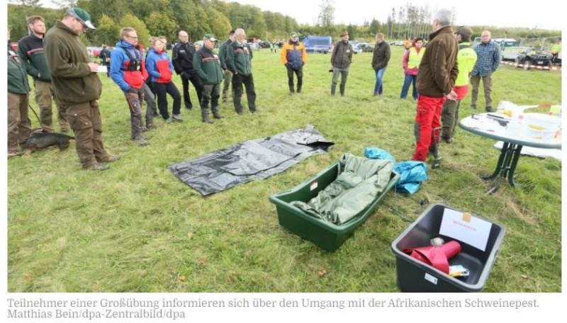 AGRAR   Harzkreis bereitet sich auf Afrikanische Schweinepest vor03.10.2021Friedrichsbrunn - Zaunaufbau, Kadaversuche, Desinfektion: Damit im Falle eines Ausbruchs der Afrikanischen Schweinepest (ASP) alle Abläufe und Handgriffe sitzen, hat der Landkreis Harz am Samstag eine Übung veranstaltet. Auf einer Wiese nahe einem Wald zwischen Thale und Friedrichsbrunn seien dafür elf Stationen aufgebaut worden, an denen es Aktionen und Demonstrationen der Behörden und ihrer Partner gegeben habe, teilte der Landkreis mit. Wichtig bei einem möglichen ASP-Ausbruch seien der Aufbau eines Schutzzauns, die Suche und Bergung von Kadavern, die Einrichtung einer Kadaversammelstelle sowie Reinigung und Desinfektion. Auch der Einsatz von Drohnen sei vor allem fürs Auffinden der Kadaver ein wichtiges Thema, hieß es. An der Großübung hätten etwa 260 Menschen teilgenommen.https://www.mz.de/mitteldeutschland/sachsen-anhalt/harzkreis-bereitet-sich-auf-afrikanische-schweinepest-vor-3255474