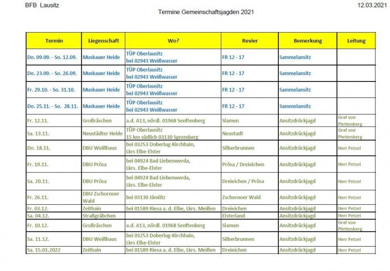Die Drückjagdtermine des Bundesforstbetriebes Lausitz sind Online.4 Sammelanasitze auf dem Truppenübungsplatz Lausitz11 Ansitzdrückjagden in verschiedenen Revieren in Brandenburg und SachsenEs sind Drückjagden und Sammelansitze in Revieren geplant, die sich sowohl in Sachsen, als auch in Brandenburg befinden. Vor allem die Sammelansitze auf dem Truppenübungsplatz Oberlausitz sind eine Reise wert!https://www.deutsches-jagdportal.de/hunting_db/search/index.php?view=results&listing_type=bite&country=Alle&state=Alle&county=Alle&town=Alle&Provajder=19,18,17,&p=2